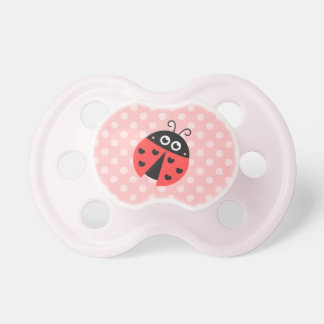 Cute ladybug with black hearts and pink polka dots pacifier