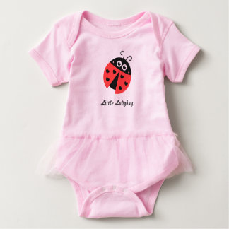 Cute ladybug with black hearts for baby girls baby bodysuit