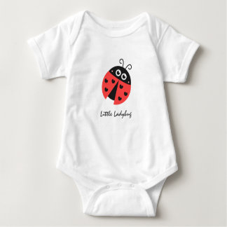 Cute ladybug with black hearts in place of spots baby bodysuit