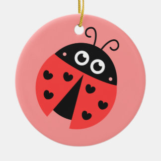 Cute Ladybug with hearts as spots Ceramic Ornament