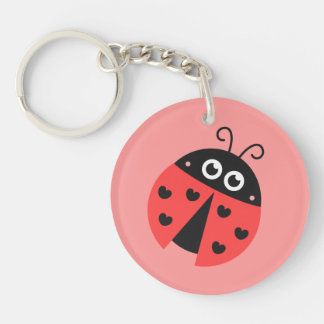 Cute Ladybug with hearts as spots Keychain