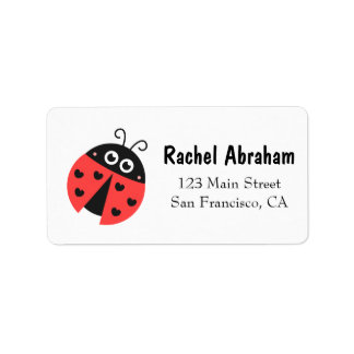 Cute Ladybug with hearts as spots Custom Address Labels