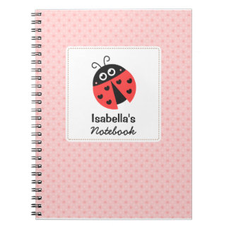 Cute Ladybug with Hearts for Girls Notebook