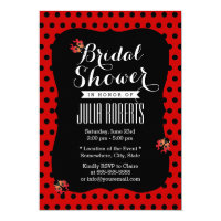 Cute Ladybugs Black & Red Dots Bridal Shower Invitation
