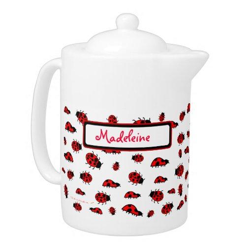 Cute ladybugs custom name personalized teapot zazzle for Personalized last name university shirts