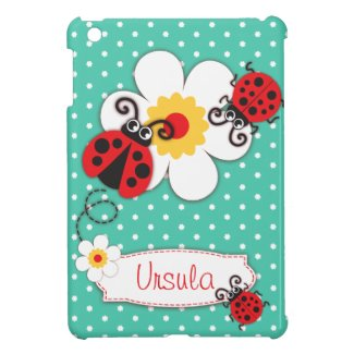 Cute ladybugs girls name red aqua ipad mini case