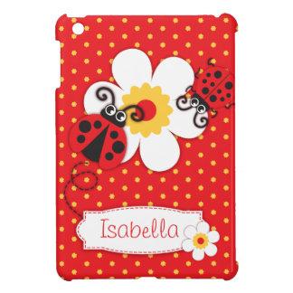 Cute ladybugs girls name red ipad mini case