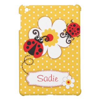 Cute ladybugs girls name red yellow ipad mini case
