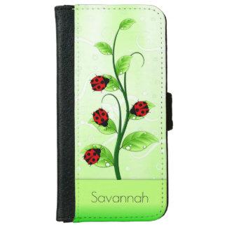 Cute Ladybugs Ladybirds on a Vine iPhone 6 Folio iPhone 6/6s Wallet Case