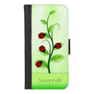 Cute Ladybugs Ladybirds on Green Leaves on a Vine iPhone 8/7 Wallet Case