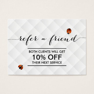 Cute Ladybugs Modern White Quilted Referral Business Card