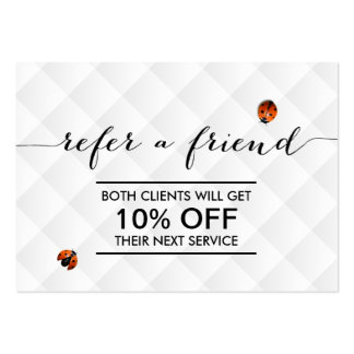 Cute Ladybugs Modern White Quilted Referral Large Business Card