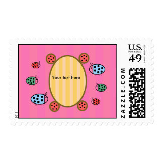 Cute ladybugs on pink stamps