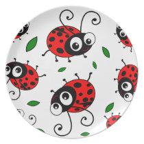 Cute ladybugs pattern dinner plate