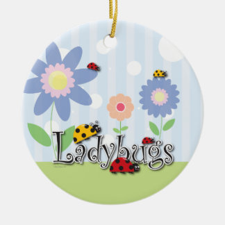 Cute Ladybugs Pendant - 2 sided! Ceramic Ornament