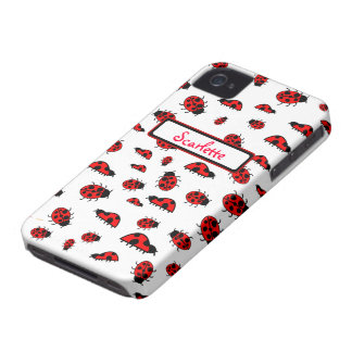 Cute Ladybugs Personalized Custom Name Cases iPhone 4 Case-Mate Case