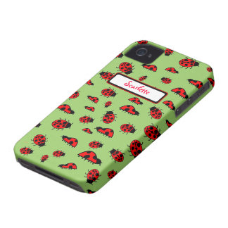 Cute Ladybugs Personalized Custom Name Cases iPhone 4 Cases
