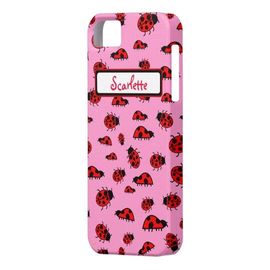 Cute Ladybugs Personalized Custom Name iphone 5 iPhone SE/5/5s Case