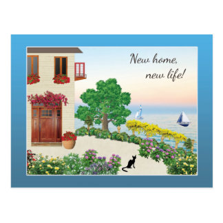 Cute Lake Side / Seaside Home Change of Address Postcard