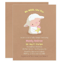 Cute Lamb and Bottle Baby Shower Party Invitations