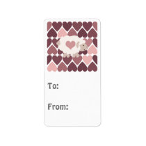 Cute lamb and pink hearts label