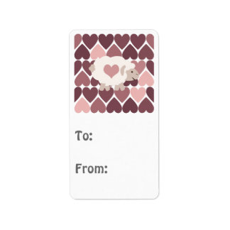 Cute lamb and pink hearts custom address label