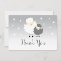 Cute Lamb Baby Shower Gray & White Thank You