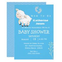 Cute Lamb Boy Baby Shower Invitation