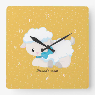 Cute lamb * choose background color square wall clocks