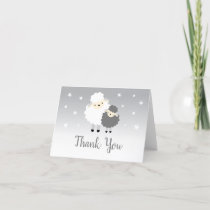 Cute Lamb Gray & White Baby Shower Thank You