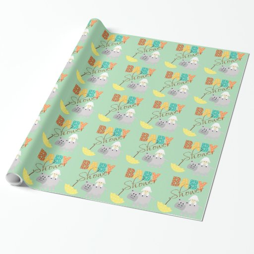 Baby Gift Ideas Under $10 : Cute lamb hippo with umbrella baby shower gift wrap