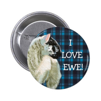 Cute Lamb Loves Ewe 2 Inch Round Button