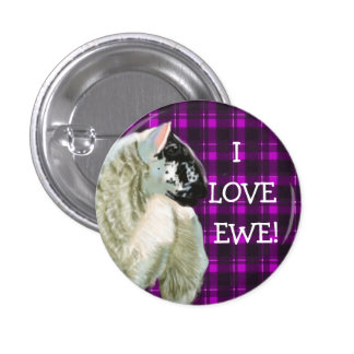 Cute Lamb Loves Ewe 1 Inch Round Button