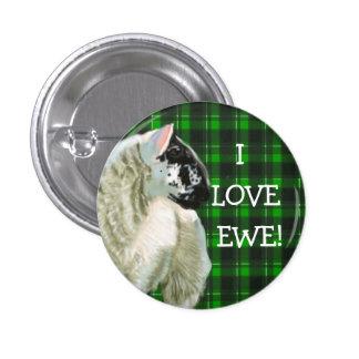 Cute Lamb Loves Ewe 1 Inch Round Button