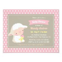 Cute Lamb Milk Bottle Pink Baby Shower Invitation