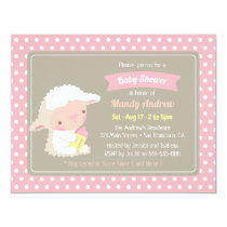 Cute Lamb Milk Bottle Pink Baby Shower Invitation