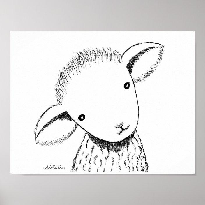 Cute Lamb Nursery Decor Drawing