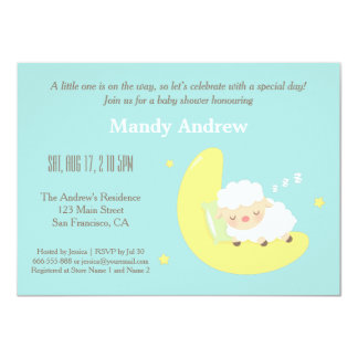"Cute Lamb on Moon Baby Shower Party Invitations 4.5"" X 6.25"" Invitation Card"