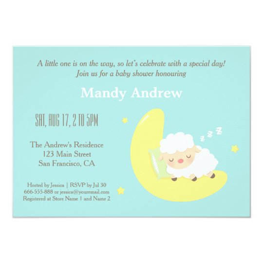 Cute Lamb on Moon Baby Shower Party Invitations – Baby Shower Party Invitations