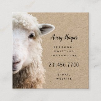 Cute Lamb Sheep Knitting Instructor Teacher Card