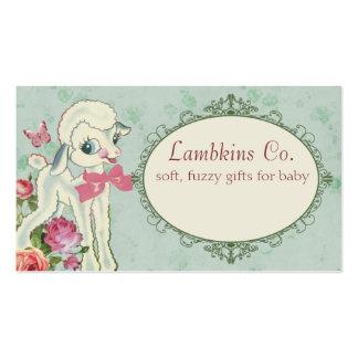cute lamb sheep wool knitting crochet baby sewing business card