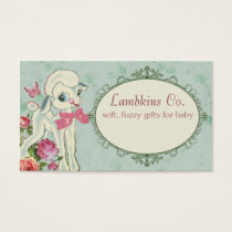cute lamb sheep wool knitting crochet baby sewing business card