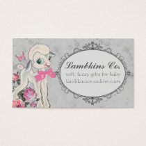 Cute lamb sheep wool knitting crochet sewing business card