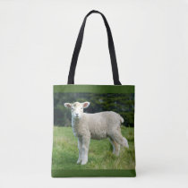 Cute Lamb with Muddy Face in Green Meadow Tote Bag