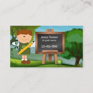 Cute Landscape Chalkboard Teacher Business Card