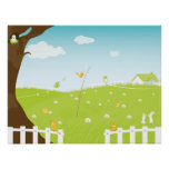 Cute Landscape With Singing Birds And Trees Poster