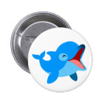 Cute Laughing Cartoon Dolphin Pinback Button