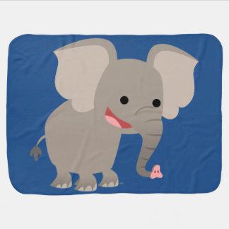 Cute Laughing Cartoon Elephant Baby Blanket