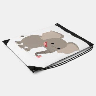 Cute Laughing Cartoon Elephant Drawstring Backpack