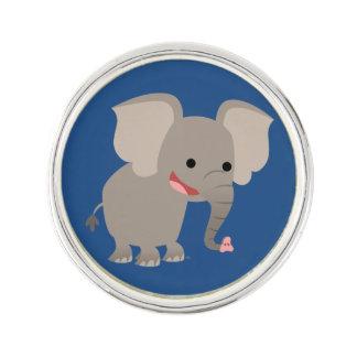 Cute Laughing Cartoon Elephant Lapel Pin